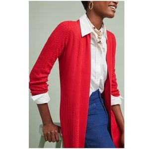 Anthropologie MOTH Edlyn Cardigan Sweater NWT Red